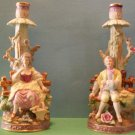 Chase Hand Painted Bisque Candlesticks (Japan)
