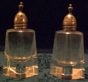 Sterling Silver Glass Salt and Pepper Shakers