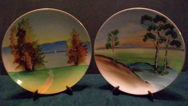Set of 2 Hand Painted Occupied in Japan Collector Plates