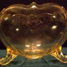 Cupped 3 Footed Depression Glass Bowl, Topaz Yellow