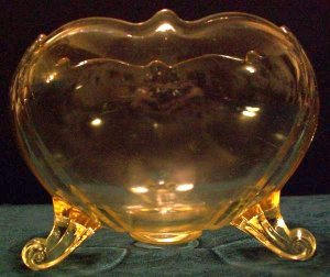 Cupped 3 Toed Footed Depression Glass Bowl, Topaz Yellow