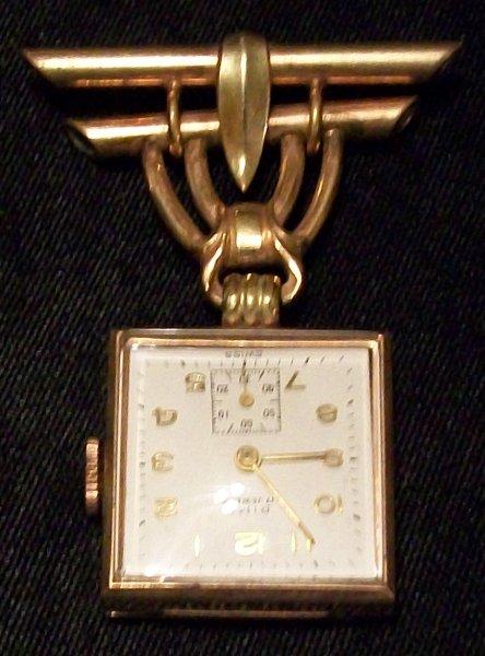 Vintage Rima 17 Jewel Nurses Watch Pin 12kt