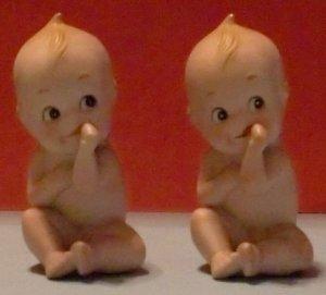Set of 2 Lefton Kewpie Piano Babies (Bisque)