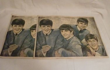 1960s Beatle Fan Club Lithographs On Canvas by Leo Jansen (set of two)