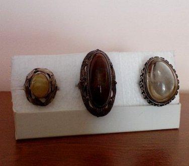 Set of Three Vintage Silver Rings with Hallmarks (Ladies)