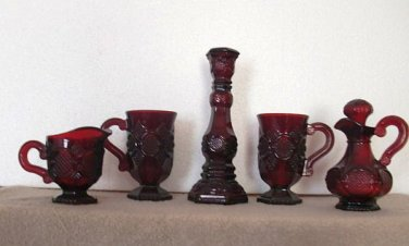 Avon 1876 Cape Cod Collection 5 Piece Mixed Collection (Ruby)