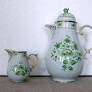 Hollohaza Hungary 1831 2 Piece Cappucino Set (Green flowers, gold trimmed)