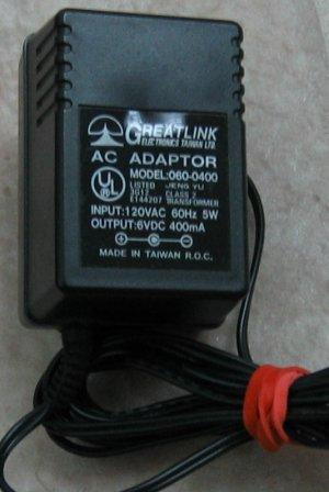 Greatlink model 060-0400-6V-DC-400mA adapter