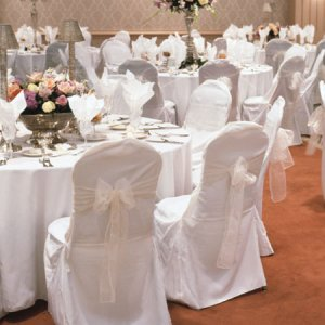 White Wedding Chair Cover-Banquet Style Flat Top Type