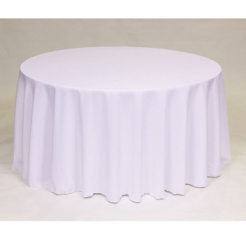 120 inch white round tablecloth