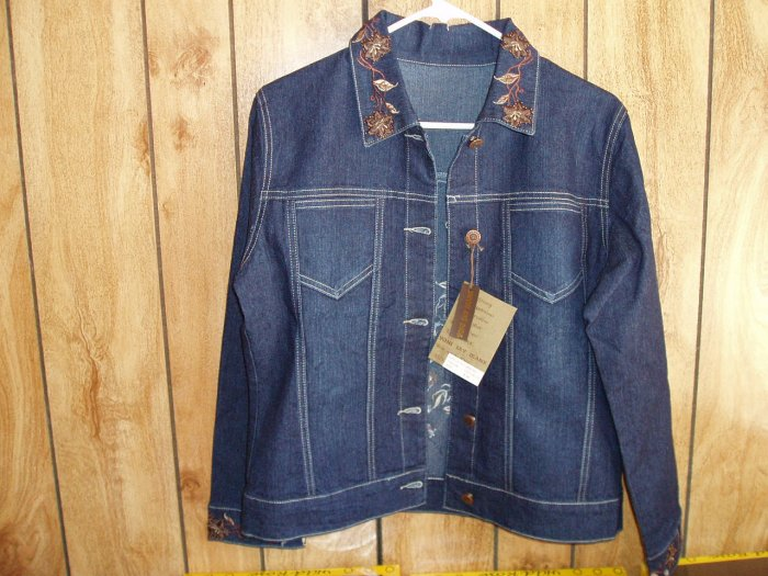 Women's Denim Jacket with embroidery & beads, size 8-10