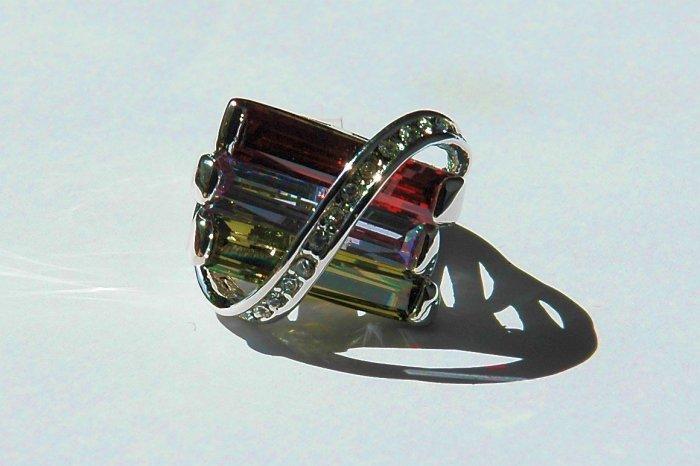 Cubic Zirconia Multi-colored Fashion Ring, size 7/8