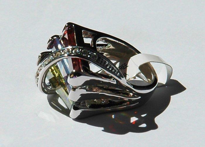 Cubic Zirconia Multi-colored Fashion Ring, size 8