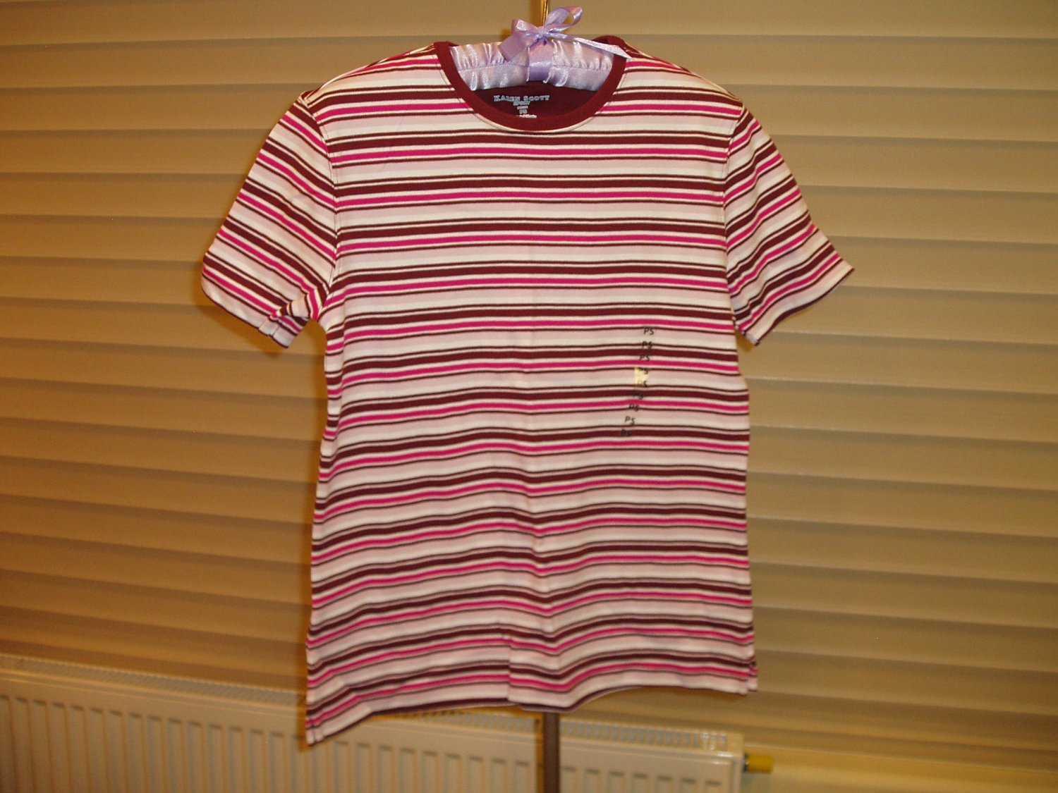 Multi-colored Karen Scott Sport T-shirt with stripes, size Petite Small, PS