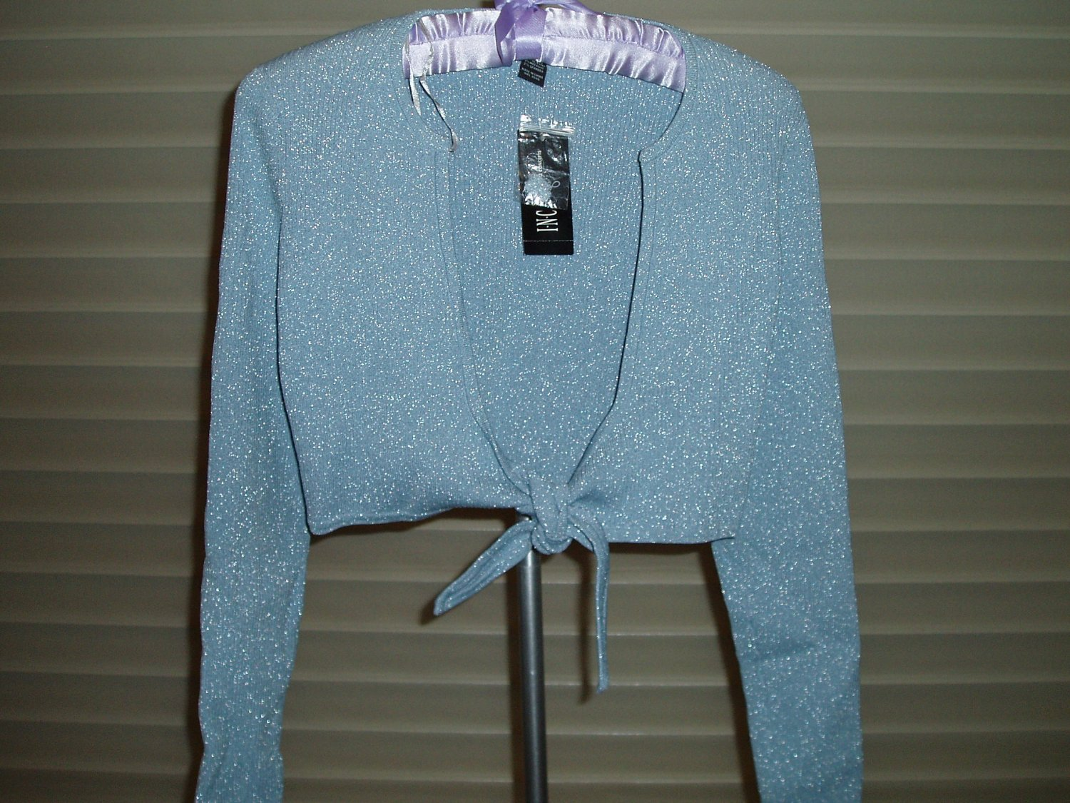 INC Petite blue with silver  thread top/sweater, size Small, S