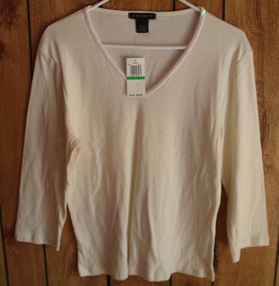 Project beige top with 3/4 sleeve, size Medium, M