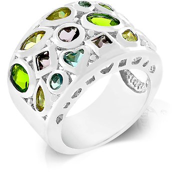 Fashion Ring with multi-colored & Multi-shaped cubic zirconia in silvertone, size 8