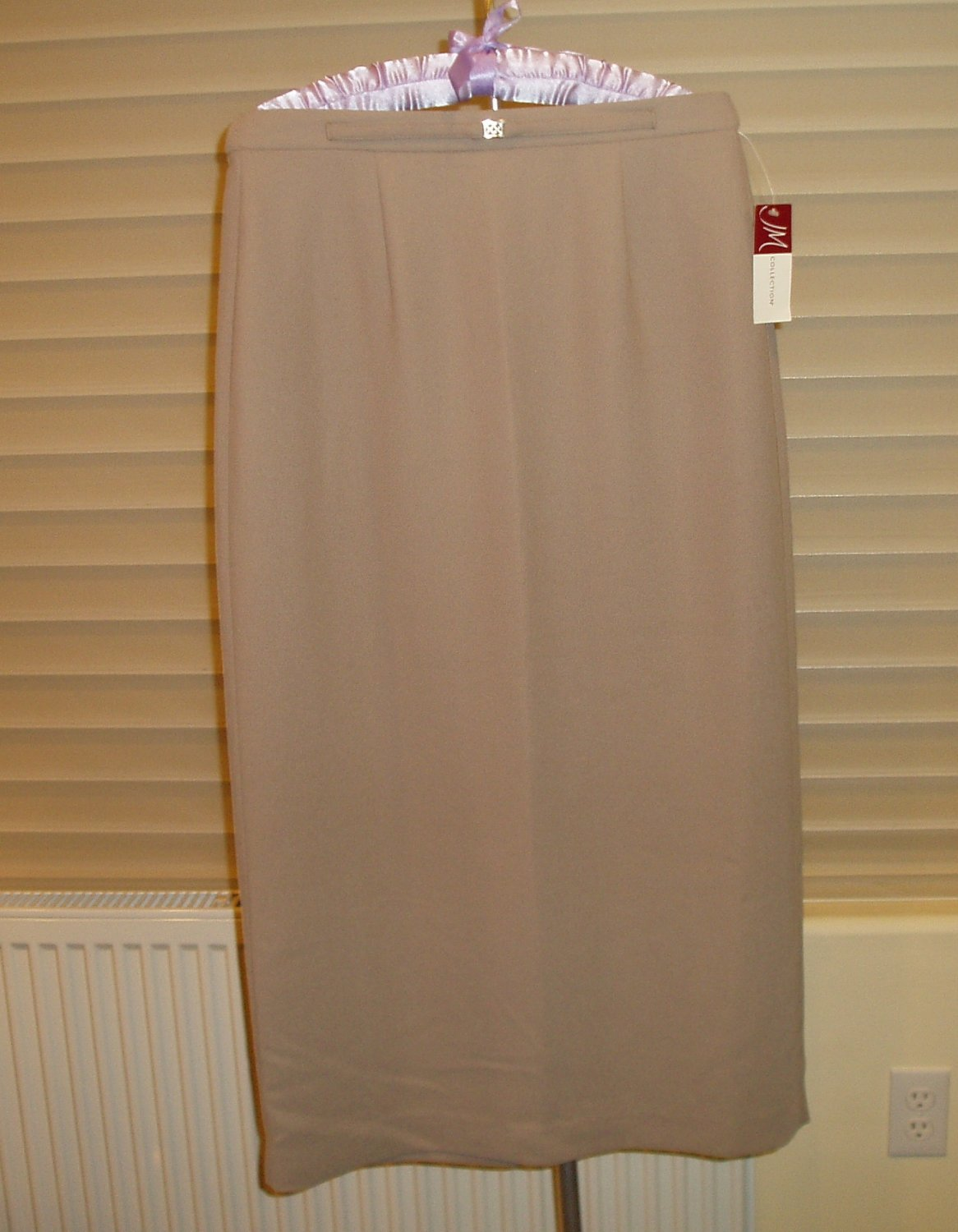 JM Collection taupe, light brown skirt, size 8