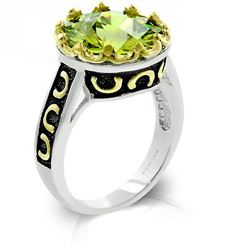 Cubic Zirconia Fashion Ring in Green/Olive, size 8
