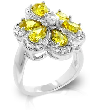 Fashion Ring with Yellow, Jonquil & clear Cubic Zirconia, size 8