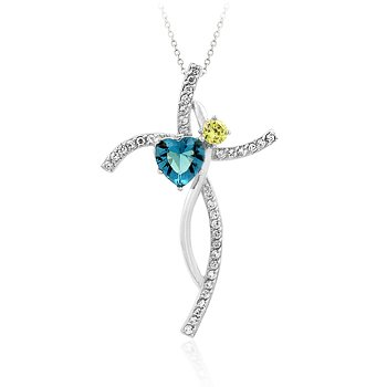 Pendant with chain with aqua blue and yellow CZ in silvetone