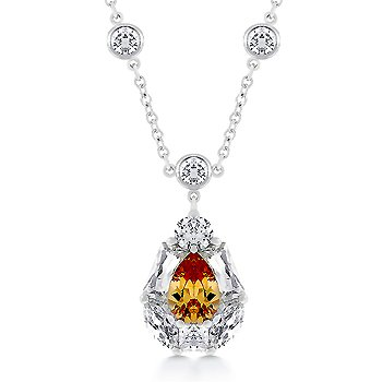 Fashion necklace with Champagne & clear Cubic Zirconia in silvertone