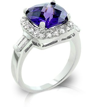 Cubic Zirconia Fashion Ring in purple, size 8