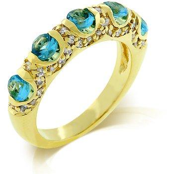 Cubic Zirconia Fashion Ring in Aqua Blue, size 8
