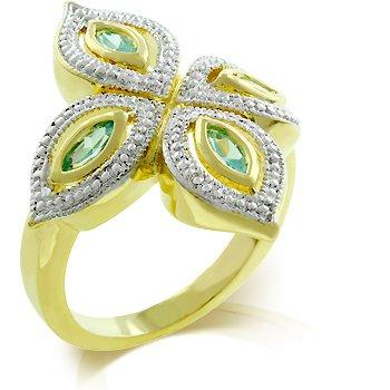Aqua Cubic Zirconia Fashion Ring, size 8