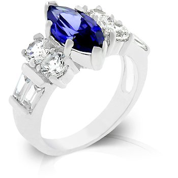 Cubic Zirconia Fashion Ring in Blue, size 8