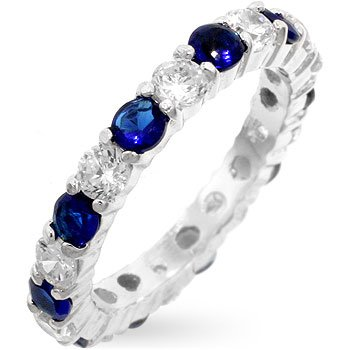 Fashion Silver ring with blue & clear cubic zirconia, size 8