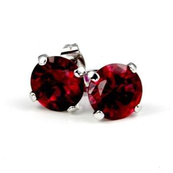 Red/ruby cubic zirconia stud earrings