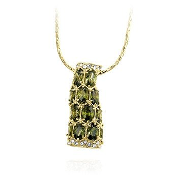 Fashion pendant with Olive Green cubic zirconia on the chain in goldtone