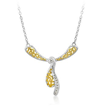 Silver and gold tone fashion necklace with clear cubic zirconia