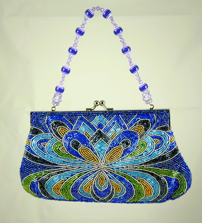 Far Nine Blue & Purple Beaded bag