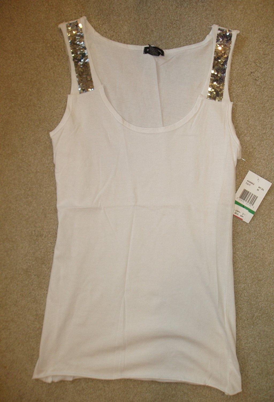 Junior, women's white tank top, size Large, L