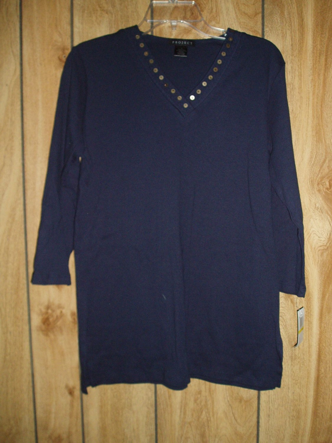 Project dark blue top with 3/4 sleeve, size Medium, M