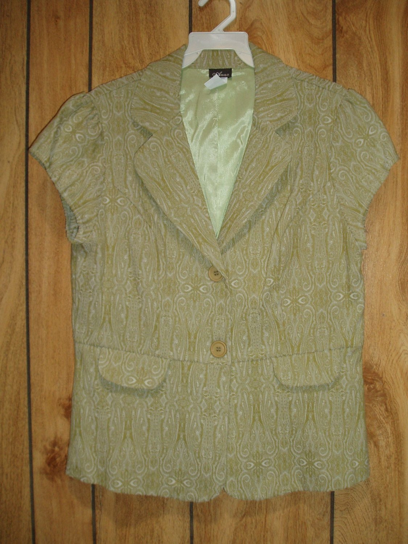 Women's green short sleeve jacket, size 1XL, 1XG