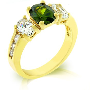 Cubic Zirconia Fashion Ring in Green/Olive and gold tone, size 8