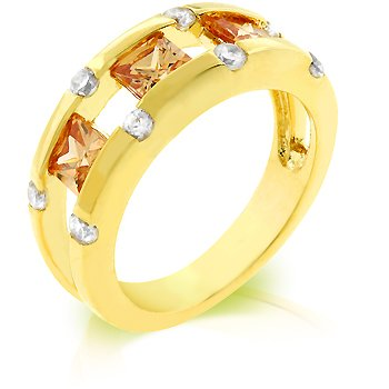 Cubic Zirconia Fashion Ring in Champagne, size 8