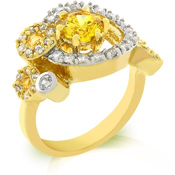 Fashion ring with yellow and clear cubic zirconia in goldtone, size 8