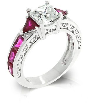 Cubic Zirconia Fashion Ring in Pink/Red/Ruby, size 8