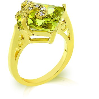 Fashion ring with olive, green, peridot and clear cubic zirconia, size 8