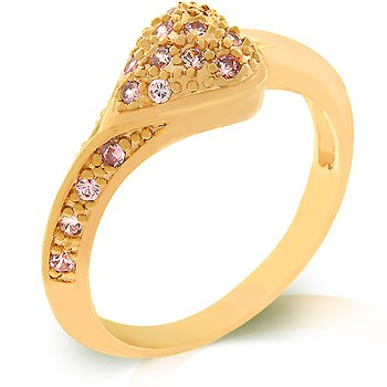 Pink Ice Fashion ring in gold color with pink cubic zirconia, size 8