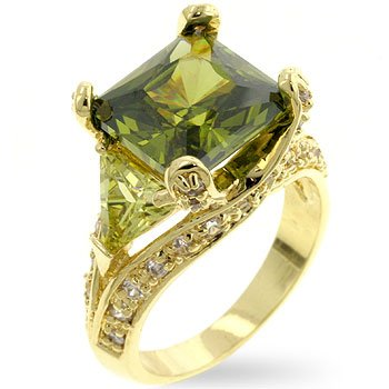 Fashion ring with green, olive and clear cubic zirconia, size 8