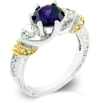 Fashion Ring with purple, amethyst Cubic Zirconia, size 8
