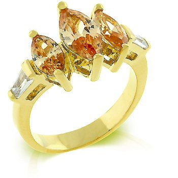 Cubic Zirconia Fashion Ring in Champagne/Orange/Brown color, size 8