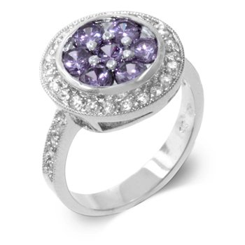 Fashion ring with purple and clear cubic zirconia, size 8