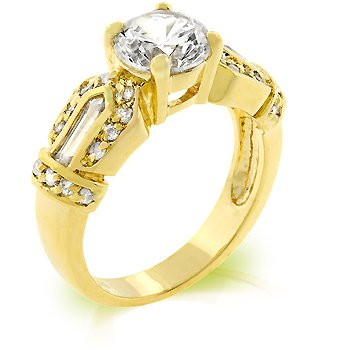 Fashion ring with clear cubic zirconia, size 8
