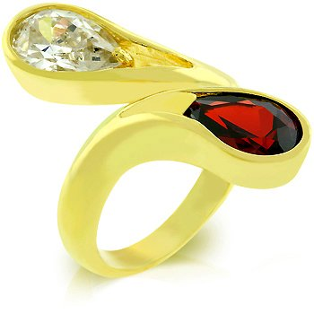 14k Gold Bonded fashion ring with red and Clear CZ in goldtone, size 8